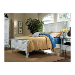 Magnussen Furniture - Urban Cottage Style Panel Bed with Crown Deta - Choose Bed Size: QueenSet included: Headboard, Footboard and Rails. Distinctive pleated apron . Solid hardwood construction with top-quality rimba veneers. A patina white finish. Queen: 90 in. W x 68 in. L x 63 in. H (145 lbs.). King: 90 in. W x 86 in. D x 63 in. H (187 lbs.). California King: 94 in. W x 86 in. L x 63 in. H (184 lbs.)The Ashby Panel Bed boasts an attractive urban cottage style that harks back to a simpler time. Distinguished by its molded panel and crown detailing and distinctive pleated fabric apron, the Ashby has a timeless charm. Taper-carved bun feet add further character, while a patina white finish is a fitting choice in completing the look of the Ashby Panel Bed.
