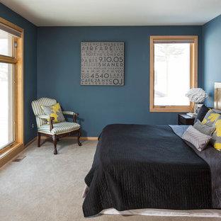 Example of a minimalist bedroom design in Minneapolis