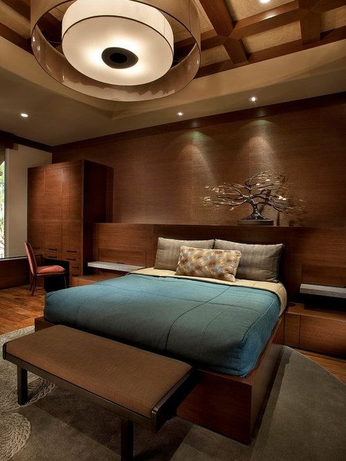 example of a trendy bedroom design in phoenix with brown walls and dark hardwood floors - Brown Bedroom Design