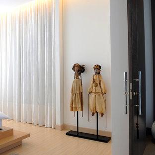 Diseño de dormitorio contemporáneo con paredes blancas y suelo de madera clara