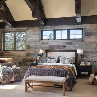 Inspiration for a large rustic master carpeted and beige floor bedroom remodel in Denver with white walls and no fireplace