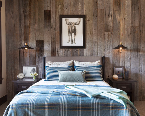 rustic bedroom ideas. Bedroom  mid sized rustic guest carpeted and brown floor bedroom idea in Denver with Our 11 Best Rustic Ideas Decoration Pictures Houzz