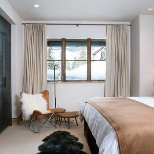Immagine di una camera matrimoniale stile rurale di medie dimensioni con pareti beige, moquette, nessun camino e pavimento grigio