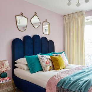 Design ideas for a contemporary bedroom in London.