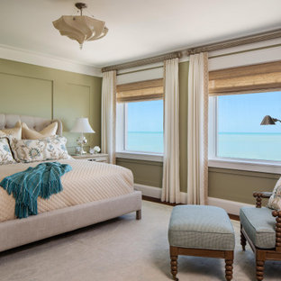 Design ideas for a large nautical master bedroom in Miami with green walls, dark hardwood flooring and no fireplace.