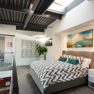 Inspiration for a mid-sized industrial loft-style carpeted bedroom remodel in Vancouver with white walls and no fireplace