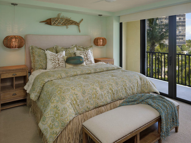 Unique Beach Style Bedroom by LAURA MILLER Interior Design