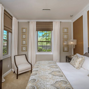 Inspiration for a transitional master carpeted and beige floor bedroom remodel in San Diego with beige walls