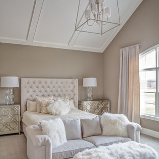 Bedroom - large transitional master carpeted bedroom idea in Cleveland with gray walls and no fireplace
