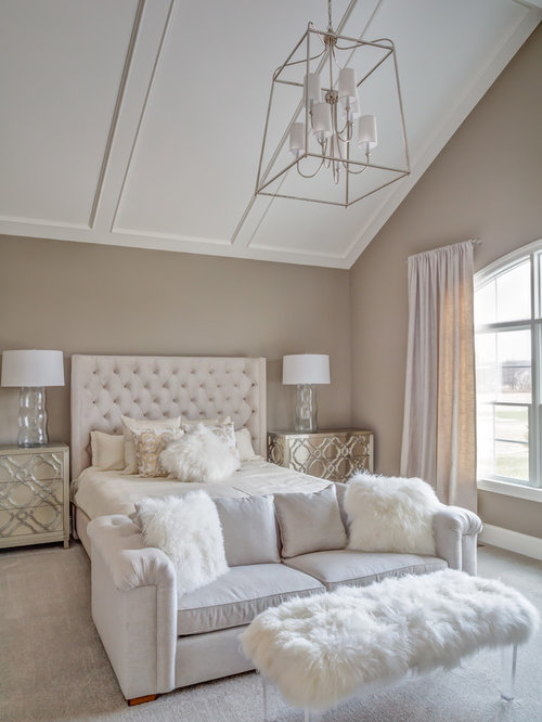 Transitional Bedroom Ideas Part - 19: Bedroom - Large Transitional Master Carpeted Bedroom Idea In Cleveland With  Gray Walls