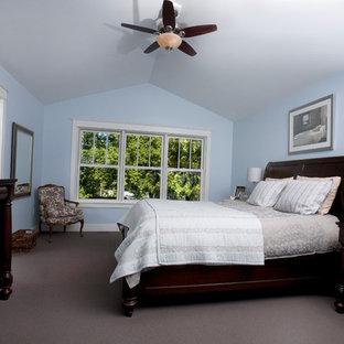 Esempio di una camera matrimoniale american style di medie dimensioni con pareti blu, moquette e nessun camino