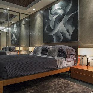 Ejemplo de dormitorio principal, minimalista, grande, sin chimenea, con paredes grises y suelo de cemento