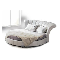 Venetian - White Tufted Eco-Leather Round Bed - Features: