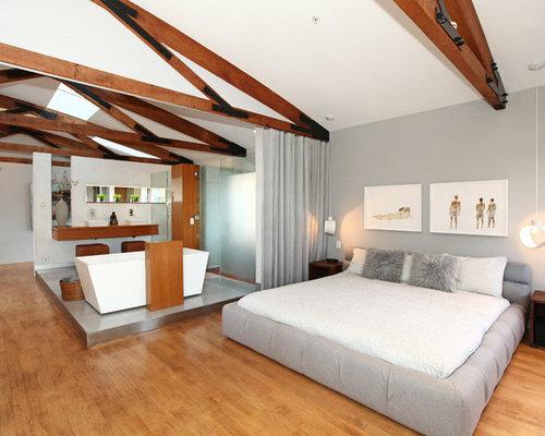 Contemporary master medium tone wood floor bedroom idea in Los Angeles with  gray walls