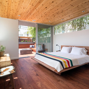 Inspiration for a modern dark wood floor and brown floor bedroom remodel in Los Angeles with white walls