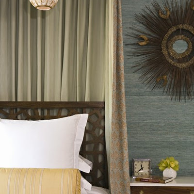 Inspiration for a contemporary bedroom remodel in Los Angeles with green walls