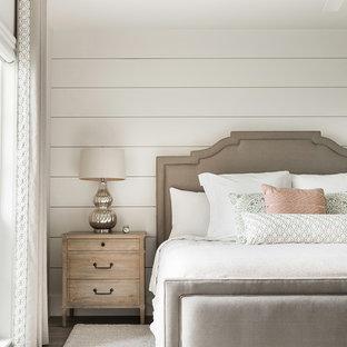 Bedroom - beach style gray floor bedroom idea with white walls