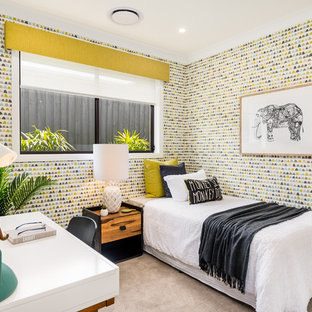 Contemporary guest bedroom in Sydney with multi-coloured walls, carpet and beige floor.