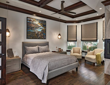 Vibrant and relaxing master bedroom and bath.