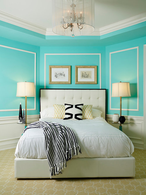 Example of a classic carpeted bedroom design in Minneapolis with blue walls. Modern Wall Colours   Houzz