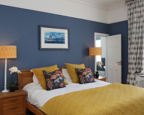 This Is An Example Of A Large Classic Master Bedroom In Dorset With Blue  Walls And
