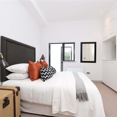 Bedroom - contemporary carpeted bedroom idea in London with white walls and no fireplace