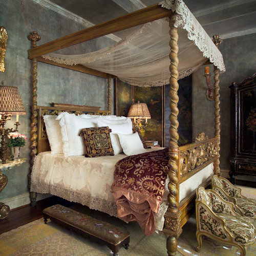 Inspiration For A Victorian Master Dark Wood Floor And Brown Floor Bedroom  Remodel In Dallas With