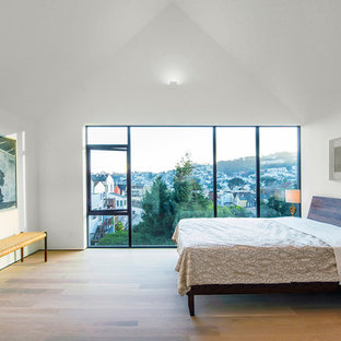 Inspiration For A Large Modern Master Medium Tone Wood Floor And Beige  Floor Bedroom Remodel In