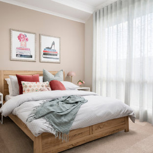 Inspiration for a contemporary guest bedroom in Perth with white walls, carpet, no fireplace and beige floor.