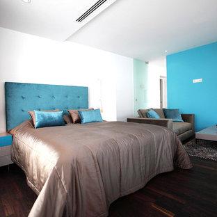 他の地域の大きいコンテンポラリースタイルのおしゃれな主寝室 (白い壁、濃色無垢フローリング、茶色い床) のレイアウト