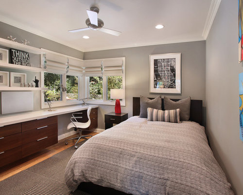 trendy bedroom photo in orange county with gray walls - Modern Boy Room