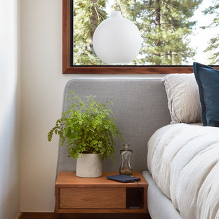 Inspiration for a large modern master dark wood floor and brown floor bedroom remodel in San Francisco with white walls