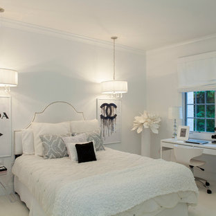 Large traditional guest bedroom in Philadelphia with white walls and carpet.