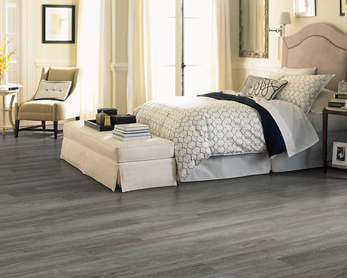 Transitional Guest Vinyl Floor And Gray Bedroom Photo In Indianapolis With Beige Walls