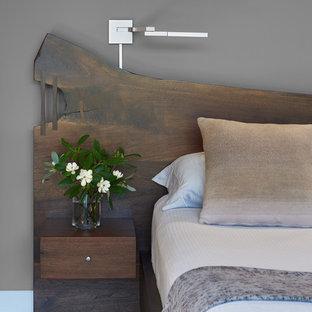 ワシントンD.C.の広いコンテンポラリースタイルのおしゃれな主寝室 (グレーの壁、淡色無垢フローリング、暖炉なし、茶色い床)