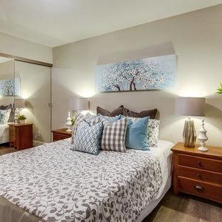 Bedroom Contemporary Medium Tone Wood Floor And Gray Idea In Orange County With