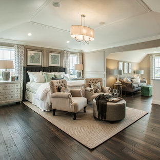 Inspiration for a large transitional master dark wood floor bedroom remodel in Philadelphia with gray walls
