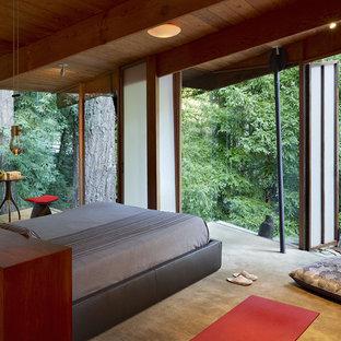 Idéer för rustika sovrum, med heltäckningsmatta
