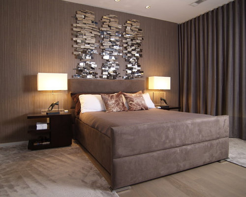 Inspiration for a contemporary bedroom remodel in Atlanta with brown walls. Bedroom Wall Art   Houzz