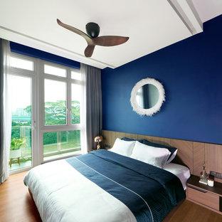 シンガポールのコンテンポラリースタイルのおしゃれな寝室 (青い壁、淡色無垢フローリング、茶色い床)
