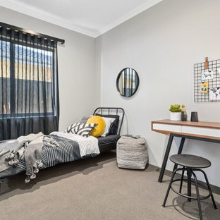 Design ideas for a transitional bedroom in Perth with grey walls and carpet.