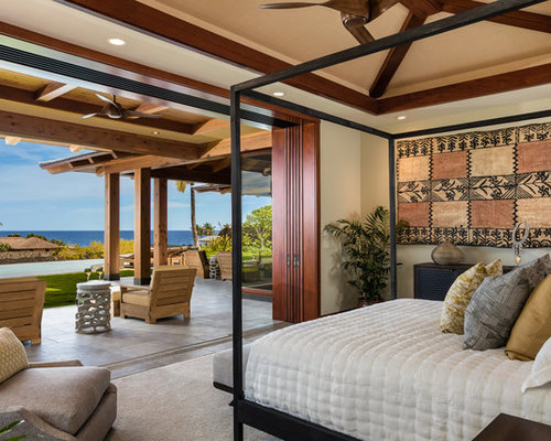 Inspiration For A Tropical Bedroom Remodel In Hawaii With Beige Walls