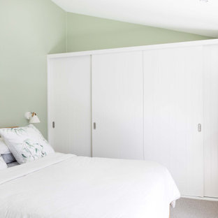 Inspiration for a mid-sized contemporary master bedroom in Sydney with green walls, carpet and grey floor.