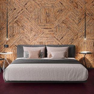 Ejemplo de dormitorio panelado, minimalista, panelado, con paredes marrones, suelo de corcho, suelo violeta y panelado
