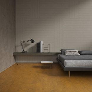 Foto de dormitorio panelado, de estilo zen, panelado, con paredes blancas, suelo de corcho, suelo naranja y panelado