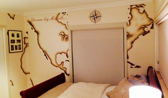 Wall mural installation at patricia house coconut grove