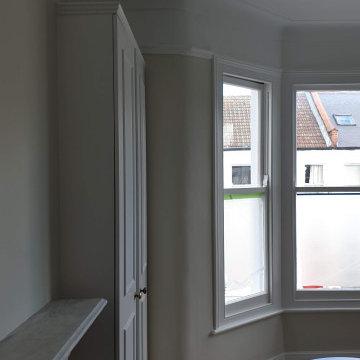 Wallpaper in Master bedroom transformation in Balham