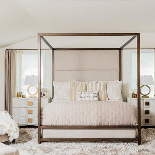 Inspiration for a large transitional master dark wood floor and brown floor bedroom remodel in Boston with white walls