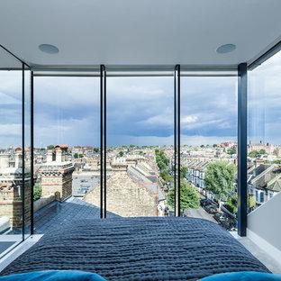 Inspiration för ett litet funkis sovrum, med grå väggar
