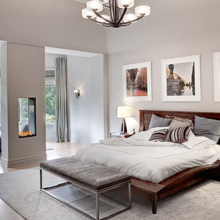 Inspiration for a contemporary master medium tone wood floor bedroom remodel in New York with gray walls and a two-sided fireplace